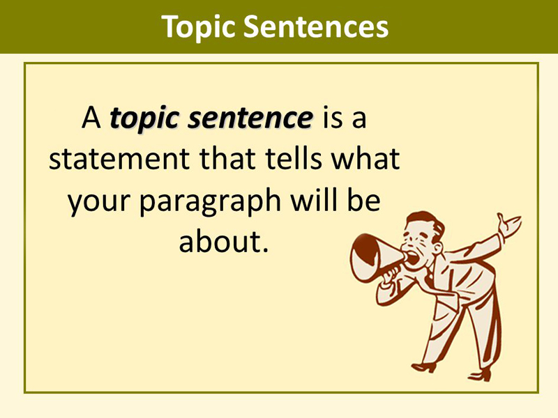 writing topic sentences Topic sentence is an important first sentence this pages gives examples of topic sentences in academic writing and offers a practice lesson.